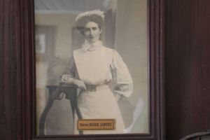 Framed photo of Matron Lowrey, possibly from her days as matron of Wallsend Hospital.  Quambi Museum, Stroud.  Photo: Courtesy Ed Tonks 2012