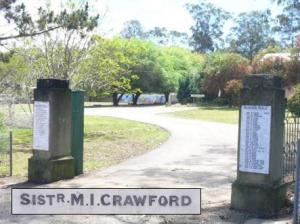 Ellalong Public School memorial.  Sister Crawford's name appears on the left-hand pillar of the gates.Photo:  A John Bramble