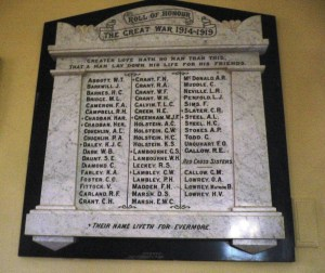 Great War honour roll inside St John's Anglican Church, Stroud.Photo:  Christine Bramble 2013