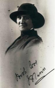 "Photo of Minnie Cowan as a postcard with the greeting, ""Irish love Minn""Photo:  courtesy Newcastle Museum"