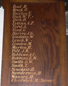 Detail, right hand panel of Great War honour roll, Newcastle East Public School.  Photo: Christine Bramble 2013.  Click on image to enlarge.