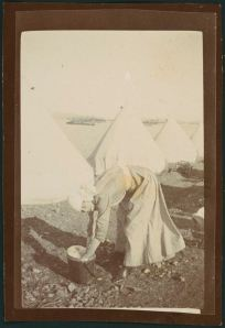 Sister Mitchell washing at Lemnos 1915. Anne Donnell, National Library of Australia MS 3962