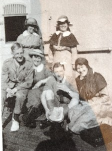 Nursing sisters on board Caronia at Durban 1917, en route for Egypt.   Back L-R Sr Briggs, Sr Esther Moore. Front L-R Unidentified male, Sr McGrath, unidentified male, Sr Gertrude Callow in front right.  Image courtesy Fiona Cester.