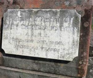 Grave of Sister Mary Theresa Martin, Botany Cemetery, 2010.Photo:  A John Bramble