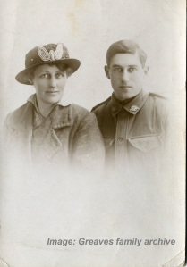Susie Greaves and nephew Harry Campbell Greaves, c1915-1918, probably in the UK.  Image courtesy Greaves family archive.
