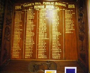Tighes Hill Public School honour roll.  Photo:  Christine Bramble 2013.  Click on image to enlarge.