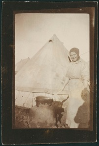 """Sister Rush stirring pea soup.  Very typical of how we cooked luxuries for the patients at Lemnos.  The fireplace made of mud. Oct 1915"" Anne Donnell.  National Library of Australia MS 3962"