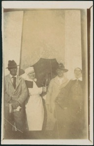 "Sisters Rush [left & Young [right] with two patients from Lemnos, now in Egypt.  February 1916"".  Anne Donnell, National Library of Australia MS 3962"