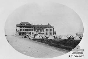 The Australian Voluntary Hospital in the Hotel du Golfe, Wimereux, northern France.  The tents housed the nursing staff.
