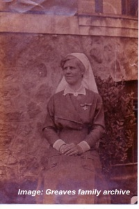 Matron Ida Greaves wearing the Royal Red Cross.  Possibly taken following her investiture in 1915.   Image courtesy Greaves family archive.