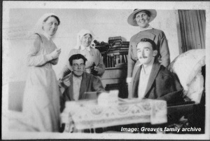 Australian Voluntary Hospital, Matron Greaves is standing at right. Image courtesy Greaves family archive.  Click on image to enlarge.
