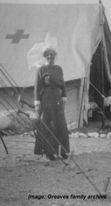 Matron Greaves at Australian Voluntary Hospital Camp, c1914-1915. Image courtesy Greaves family archive.  Click on image to enlarge.
