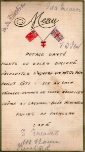 Menu for dinner in honour of Matron Greaves' award of the Royal Red Cross.   Reproduced courtesy  Greaves family.