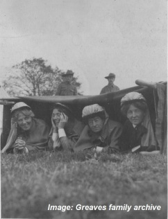 Field days practice, St Nazaire, France 1914.  Matron Greaves is on the left.   Image courtesy Greaves family archive.