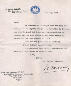 Invitation to attend presentation of the Royal Red Cross at Buckingham Palace.  Reproduced courtesy Greaves family.