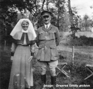 Matron Ida Greaves and an officer.  Note the ribbon of the Royal Red Cross on the left side of the cape.  This photo was taken after 1 July 1916 when the AVH had been absorbed into the Royal Army Medical Corps, as Ida is wearing the uniform of the British nursing service.  Photo courtesy Greaves family archive.  Click on image to enlarge.