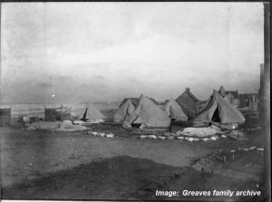 Tents after storm, Australian Voluntary Hospital, c1914-1915. Image courtesy Greaves family archive.  Click on image to enlarge.